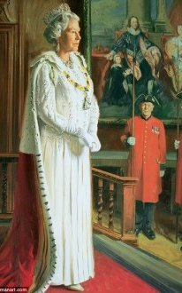 £30,000 (approximate valuation): Commissioned by the Royal Hospital, Chelsea, it features the Queen preparing for the State opening of Parliament, with two Chelsea pensioners in the background