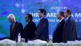 "Azim Premji, chairman of Wipro, Mukesh Ambani, chairman of Reliance Industries Limited, Kumar Mangalam Birla, chairman of Aditya Birla Group, Cyrus Mistry, chairman of Tata Group, and Anil Ambani, chairman of the Reliance Anil Dhirubhai Ambani Group (L-R) attend the launch of ""Digital India Weekâ"