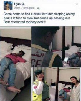 Businesswoman finds drunk stranger asleep in her bed so takes a selfie