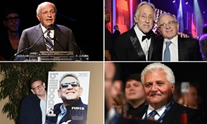Clockwise from top right, 77-year-old Sony CEO Doug Morris (No 4 on the 2016 Billboard Power 100 list); Neil Portnow, CEO of the Recording Academy (No 55) and 68-year-old Irving Azoff (No 6); 74-year-old Martin Bandier, CEO of Sony/ATV Music Publishing (No 5); 55-year-old Lucian Grainge, CEO of Universal (No 1).