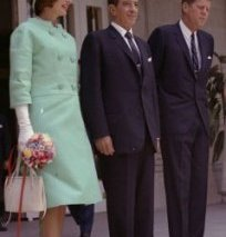 Jacqueline Kennedy made a state visit to Mexico with the President in June 1962; they flank Mexico's president. (JFKL)