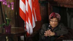 Liberian President Johnson-Sirleaf speaks during an interview with Reuters in Brussels