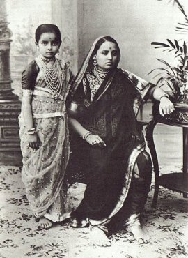 Maharani Chimnabai of Baroda seen here with her daughter the future Maharani Indira Devi of Cooch Behar.