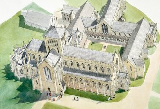 Reconstruction of Hailes Abbey as it may have appeared in the late fifteenth century