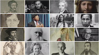 Sixteen images of historical figures arranged in a grid.