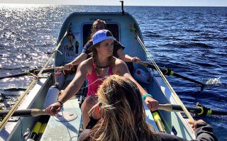 The Row Like a Girl team training on the Atlantic three days before setting out
