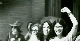 Three members of Lavender Menace at the Second Congress to Unite Women, New York, 1970 May