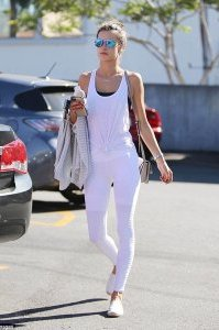 Works out a lot: The mom-of-two uses yoga, Pilates and Ballet Beautiful to keep in shape. She's pictured in  LA last week on her way to the gym in an all-white workout ensemble